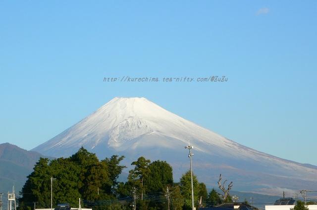 秋晴れ、秋富士、雪化粧